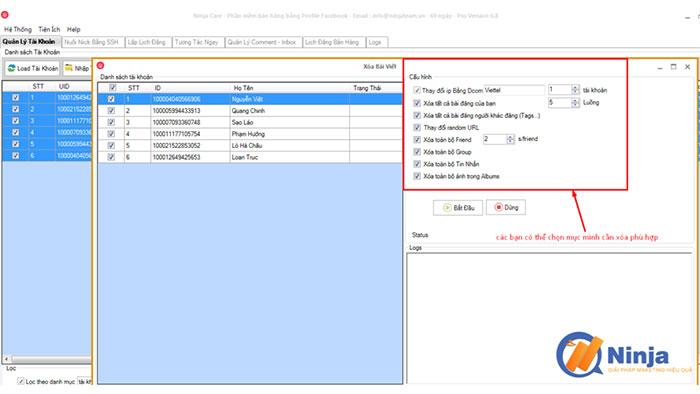 phan mem nuoi nick facebook 2 3 tính năng nổi trội của phần mềm nuôi nick Facebook Ninja care