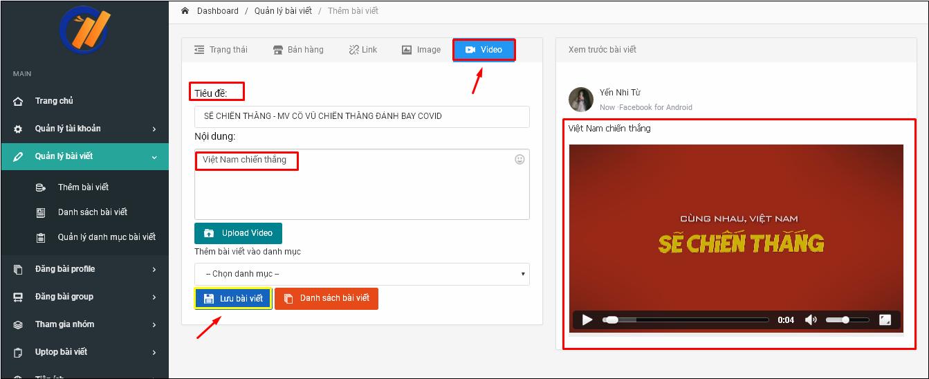 Screenshot 1 Hướng dẫn đăng bài kèm video lên Profile trên phần mềm đăng tin bán hàng