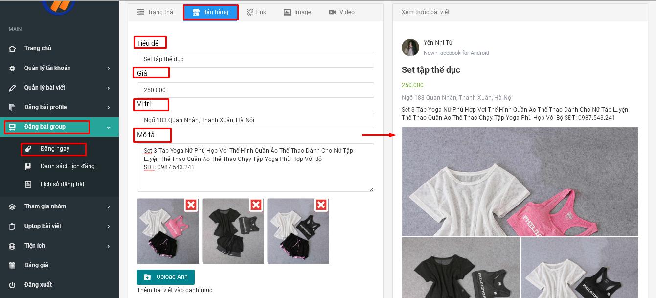 dang bai ban hang1 Hướng dẫn tạo sản phẩm bán hàng trên Group Facebook với Ninja Auto Post V2