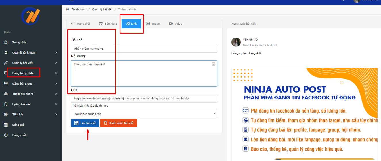 dang bai theo link Hướng dẫn đăng bài theo link trên phần mềm chăm sóc facebook Ninja Auto Post V2