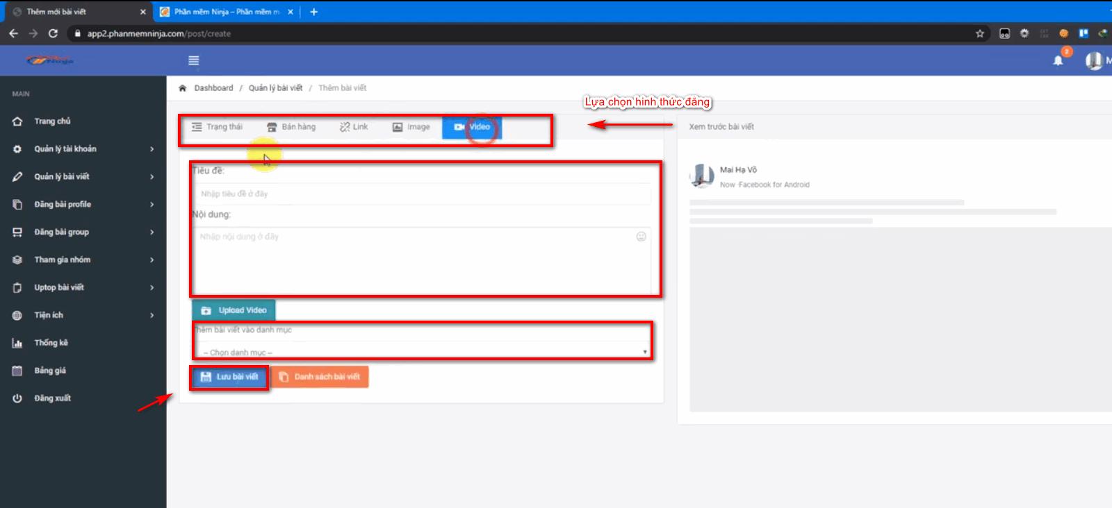 dang bai tu dong facebook 7 Hướng dẫn đăng bài tự động facebook lên Profile với Ninja Auto Post V2