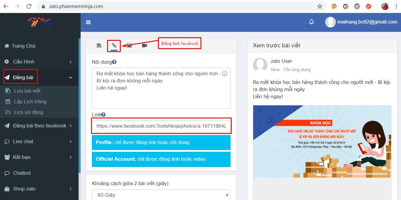dang bai tu dong1 Làm việc online mùa dịch hiệu quả với phần mềm gửi tin nhắn Zalo