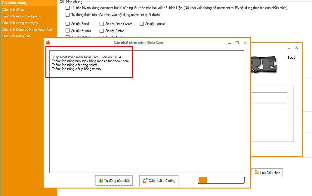 ninja care 16.6 Cập nhật phần mềm nuôi nick bán hàng Ninja Care version 16.4