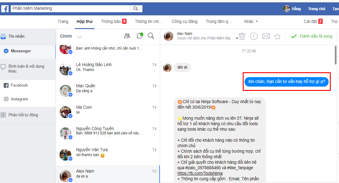 tao chat bot bang ninja fanpage1 1 Ứng dụng phần mềm quản lý inbox Fanpage đối với dịch vụ Y tế