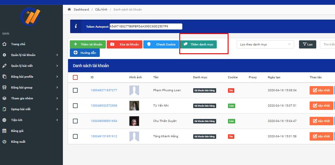 tao danh muc tai khoan 1 Cách tạo danh mục tài khoản trên phần mềm đăng tin facebook Ninja Auto Post V2