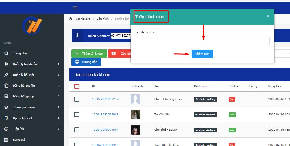 tao danh muc tai khoan 2 Cách tạo danh mục tài khoản trên phần mềm đăng tin facebook Ninja Auto Post V2