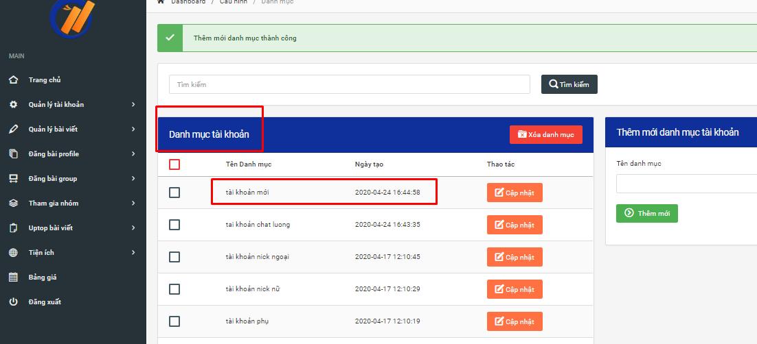 tao danh muc tai khoan 4 Cách tạo danh mục tài khoản trên phần mềm đăng tin facebook Ninja Auto Post V2