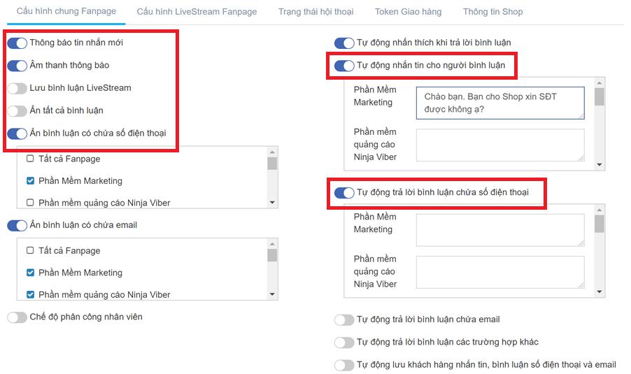 tu dong an comment Quản lý comment Facebook thông minh với phần mềm Ninja Fanpage