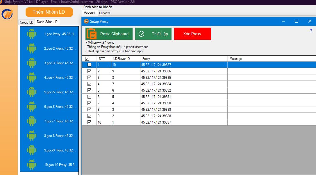 v4.2.6 Phần mềm nuôi nick giả lập cập nhật phiên bản mới Ninja System V4 for LDPlayer version 2.6