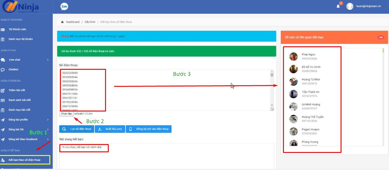 Screenshot 2 1 Hướng dẫn sao chép danh bạ với phần mềm đồng bộ số điện thoại Ninja Zalo V2
