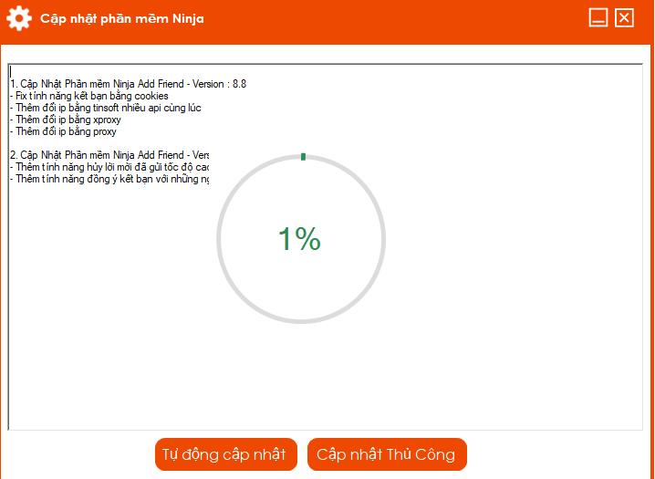 addfriend 8.8 Cập nhật phiên bản mới Phần mềm kết bạn tự động Ninja Add Friend 8.8
