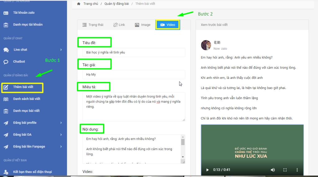 b1 tao video 1024x570 Hướng dẫn đăng bài kèm video trên OA với phần mềm quản lý đăng bài Zalo