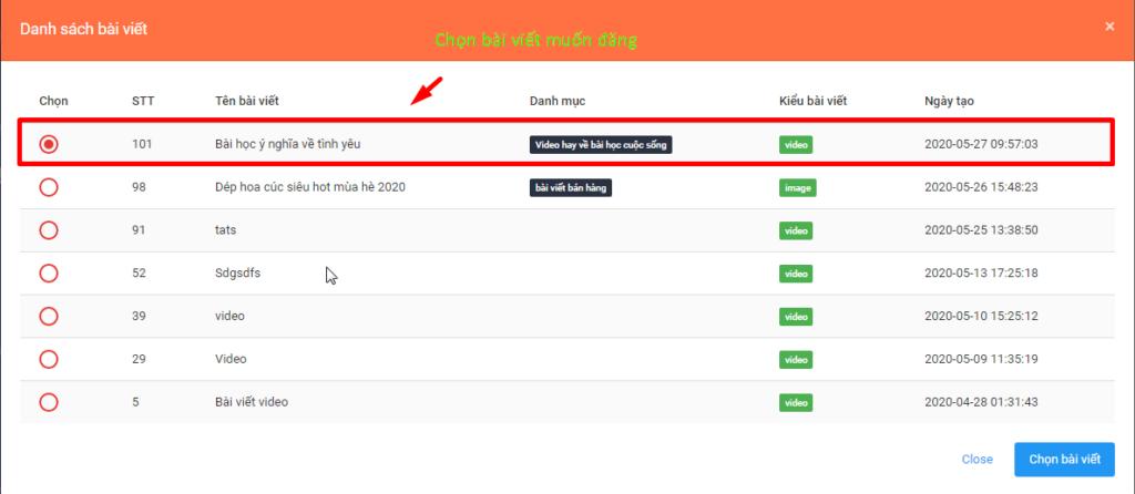 b2 tao video 1024x446 Hướng dẫn đăng bài kèm video trên OA với phần mềm quản lý đăng bài Zalo