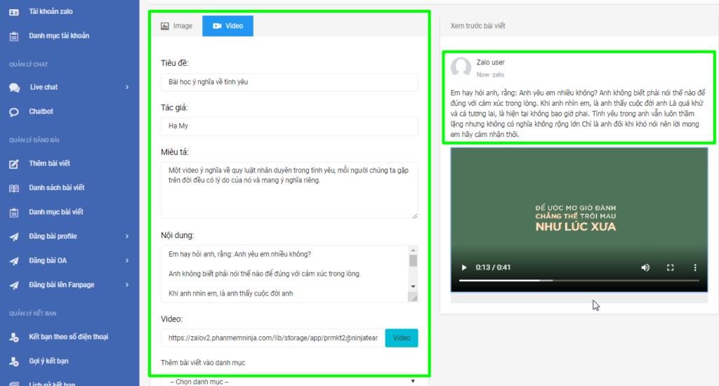 b3 tao video 1024x550 Hướng dẫn đăng bài kèm video trên OA với phần mềm quản lý đăng bài Zalo