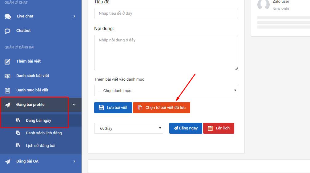 chọn bai viet da luu Hướng dẫn đăng bài profile trên phần mềm nuôi nick bán hàng zalo phiên bản mới