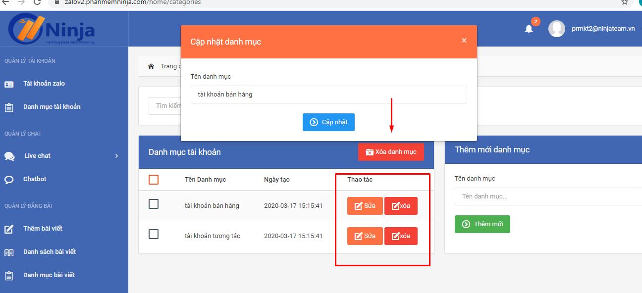chinh sua danh muc tai khoan Phần mềm quản lý tài khoản zalo hướng dẫn tạo danh mục tài khoản