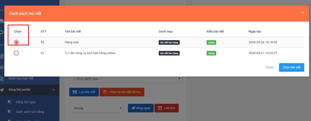 chon bai viet da luu 1 1 1024x401 Hướng dẫn lập lịch đăng bài profile trên phần mềm quản lý bán hàng Zalo