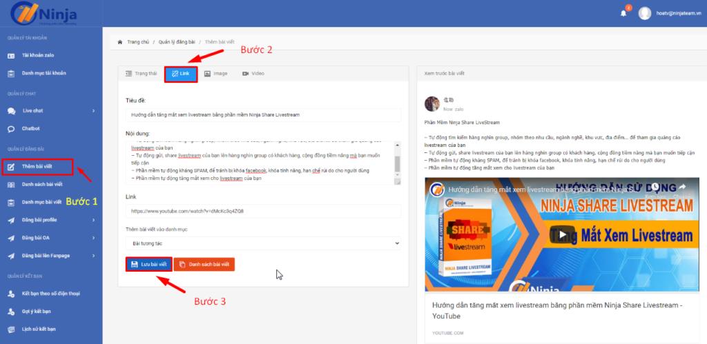 dang bai chưa link.1png 1 1024x499 Hướng dẫn đăng bài chứa link trên phần mềm đăng bài tự động Zalo