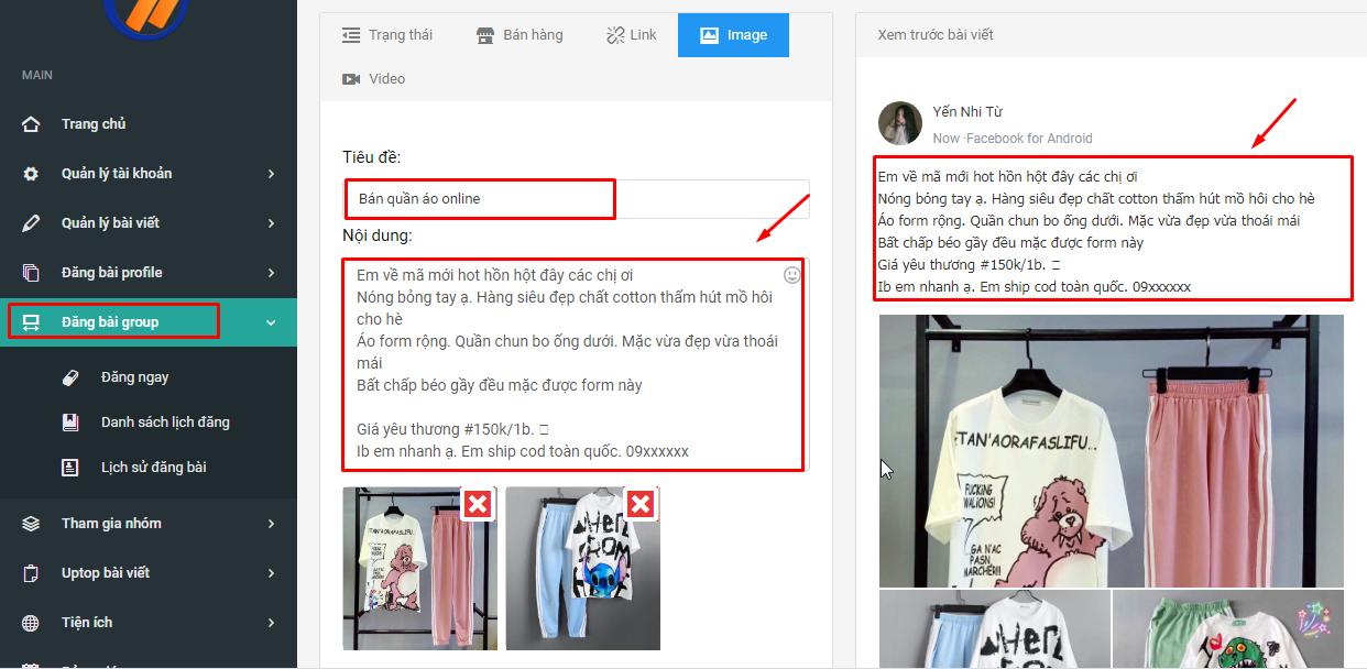 dang bai group ninja auto post2 Tạo sản phẩm bán hàng thu hút với phần mềm đăng tin quảng cáo V2
