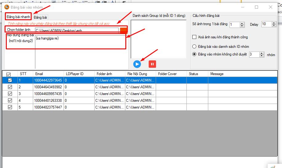 dang bai viet vao nhom 1 Hướng dẫn tương tác nhóm trên phần mềm nuôi nick số lượng lớn