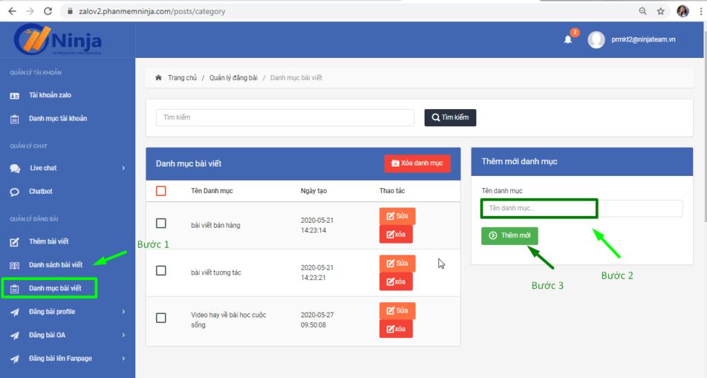 danh muc bai viet 1024x548 Hướng dẫn tạo danh mục bài viết trên phần mềm nuôi nick bán hàng Zalo