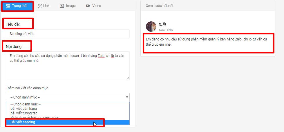 danh muc bai viet4 Hướng dẫn tạo danh mục bài viết trên phần mềm nuôi nick bán hàng Zalo