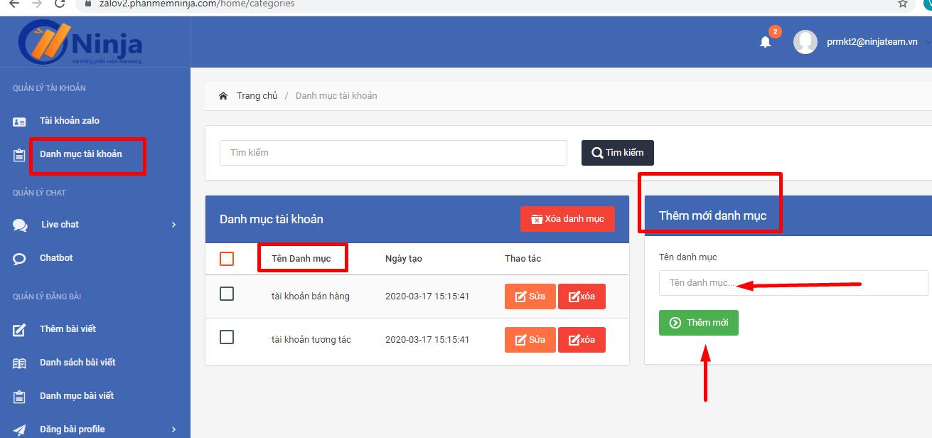 tao danh muc tai khoan 1 Phần mềm quản lý tài khoản zalo hướng dẫn tạo danh mục tài khoản