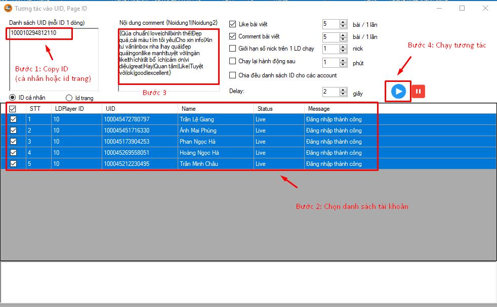 tuong tac page id uid1 Phần mềm tạo nick Facebook hướng dẫn tương tác vào Page ID, UID trên phần mềm quản lý nhiều nick Facebook