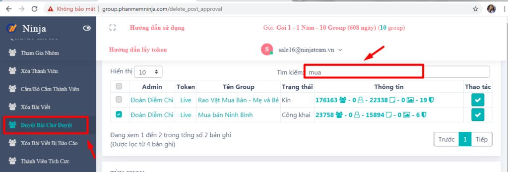 duyet bai cho duyet 1 1024x347 Hướng dẫn duyệt bài chờ duyệt với phần mềm quản lý bài viết Group