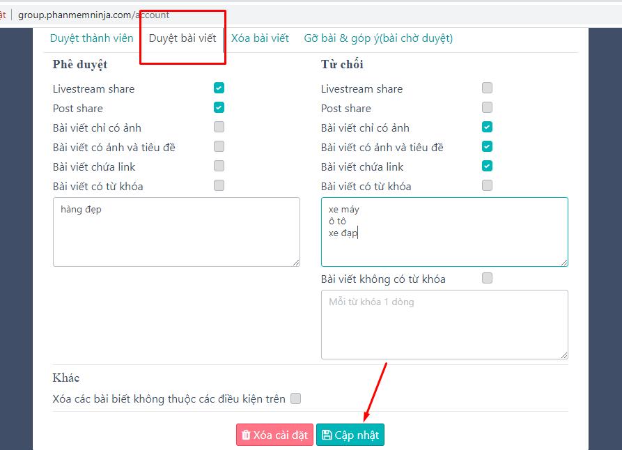 duyet bai viet Hướng dẫn cài đặt tự động ở phần mềm quản lý group số lượng lớn Ninja Group