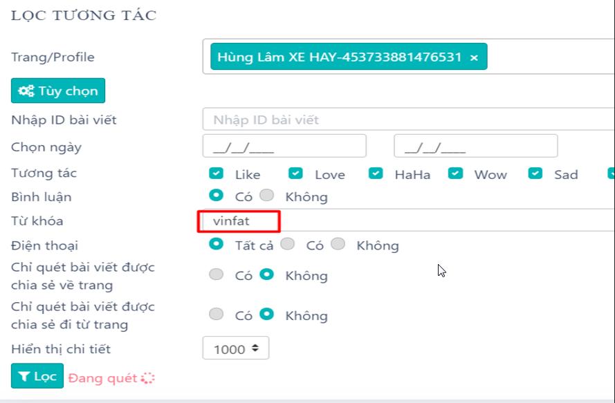 loc tuong tac1 Hướng dẫn quét bình luận theo từ khóa trên Group, Fanpage với phần mềm quét số điện thoại