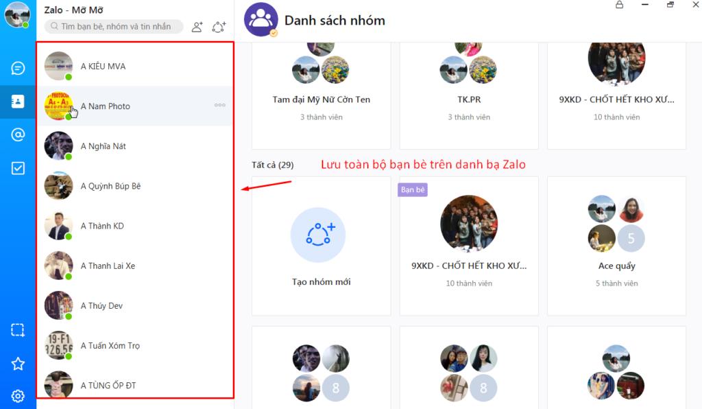 luu danh ba 1024x596 Tăng hiệu quả bán hàng với chiến dịch Remarketing của phần mềm chatbot Zalo