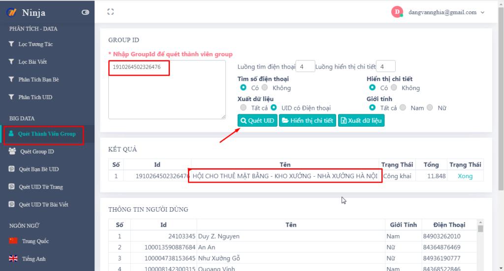 quet thanh vien 1024x552 Xây dựng Data khách hàng chất lượng với phần mềm quét số điện thoại