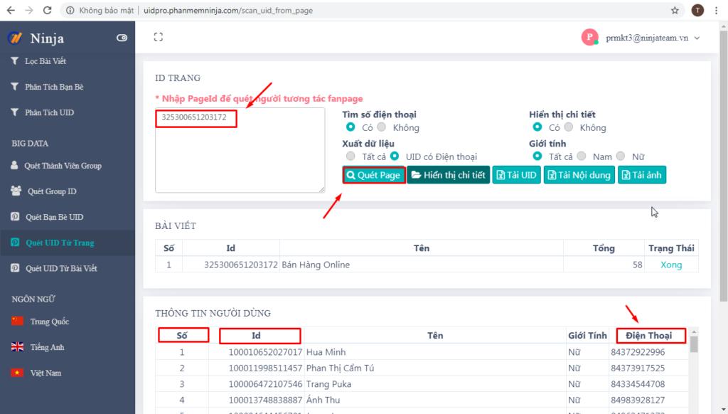 quet uid trang 1024x582 Phân tích Fanpage đối thủ hiệu quả với phần mềm quét tương tác Facebook