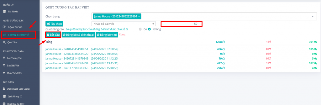 tuong tac bai viet 1024x335 Hướng dẫn quét Livestream trên phần mềm convert số điện thoại