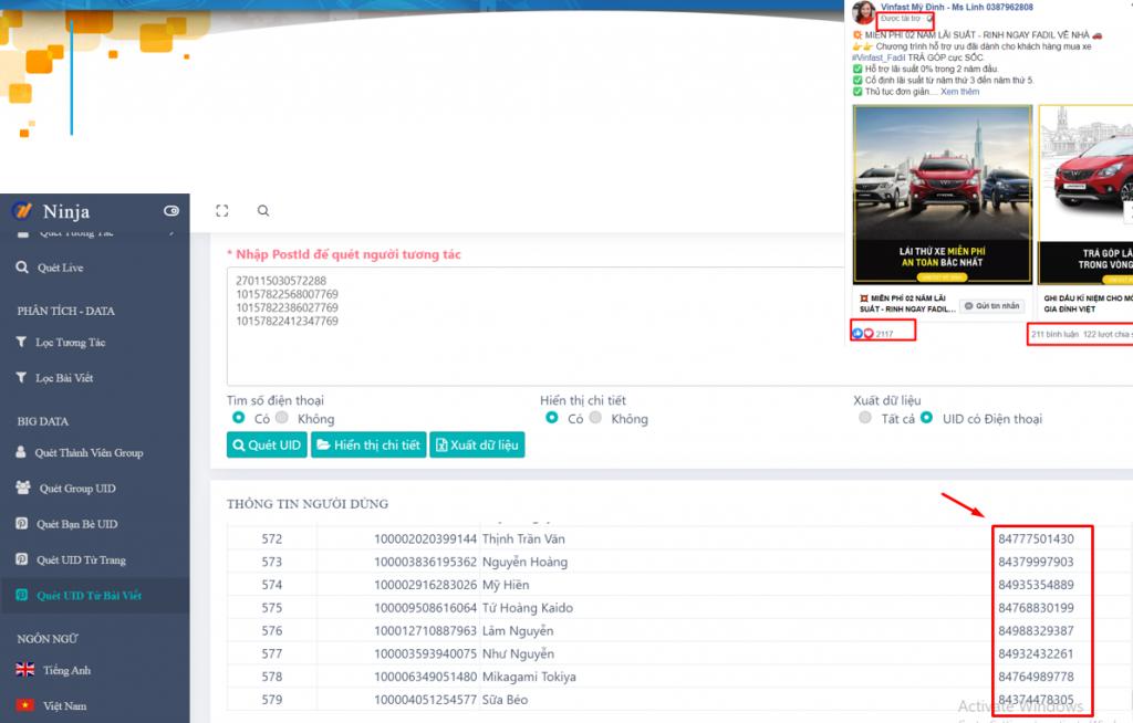 tuong tac voi post 1024x654 Tìm kiếm khách hàng tiềm năng đơn giản với phần mềm Marketing bán hàng Facebook(phần 2)