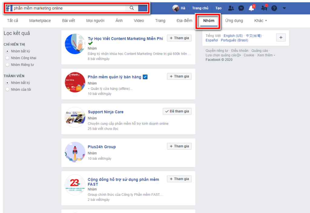 cach tim kiem nhom tren facebook 1 1024x704 Cách tìm nhóm trên facebook tiện lợi cho bán hàng online 2020