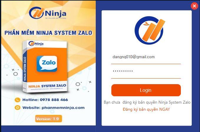 dang nhap phan mem Ninja System Zalo   Phần mềm nuôi tài khoản Zalo số lượng lớn