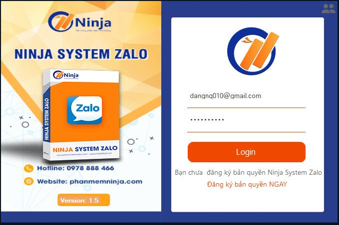 giao dien login vao phan mem Ninja system zalo   Phần mềm nuôi tài khoản Zalo số lượng lớn