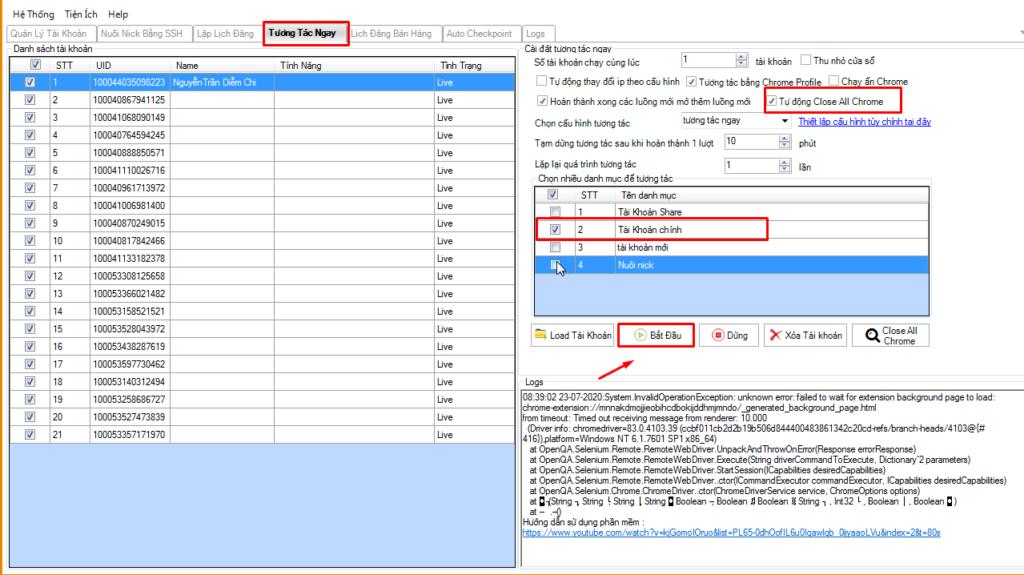 tuong tac ngay 2 1024x575 Phần mềm tự động nuôi nick hướng dẫn cách tương tác ngay