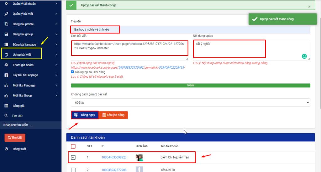 up top.1png 1024x551 4 lưu ý cần nhớ khi sử dụng phần mềm post bài Facebook