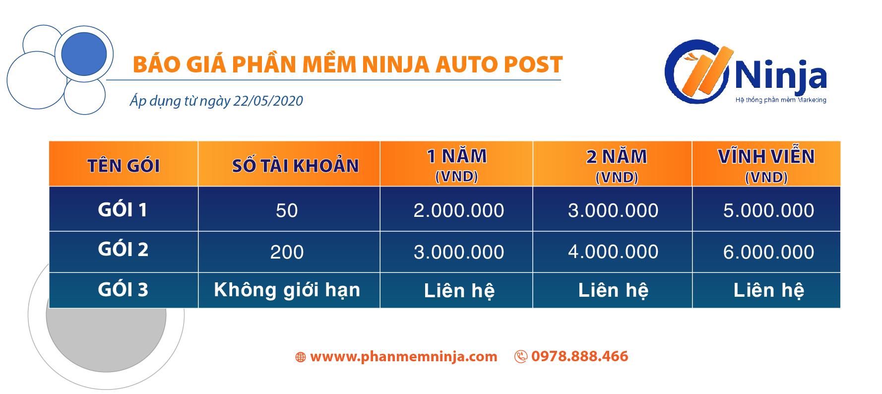 báo giá autopost Ninja Auto Post   Phần mềm quảng cáo bán hàng Facebook