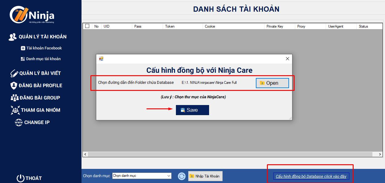 dong bo du lieu Hướng dẫn nhập tài khoản trên phần mềm đăng bài quảng cáo facebook Ninja Auto Post client