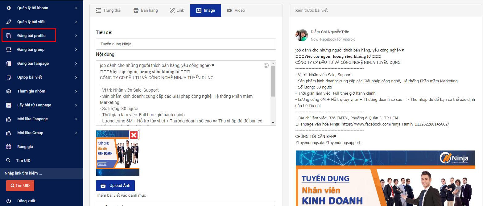 phan mem dang tin quang cao2 Ninja Auto Post   Phần mềm đăng bài Facebook tự động nhanh chóng
