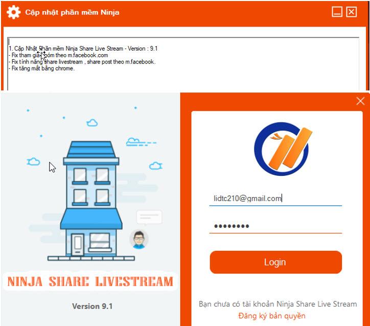 phan mem ninja share livestream Cập nhật phần mềm Ninja Share Livestream version 9.1