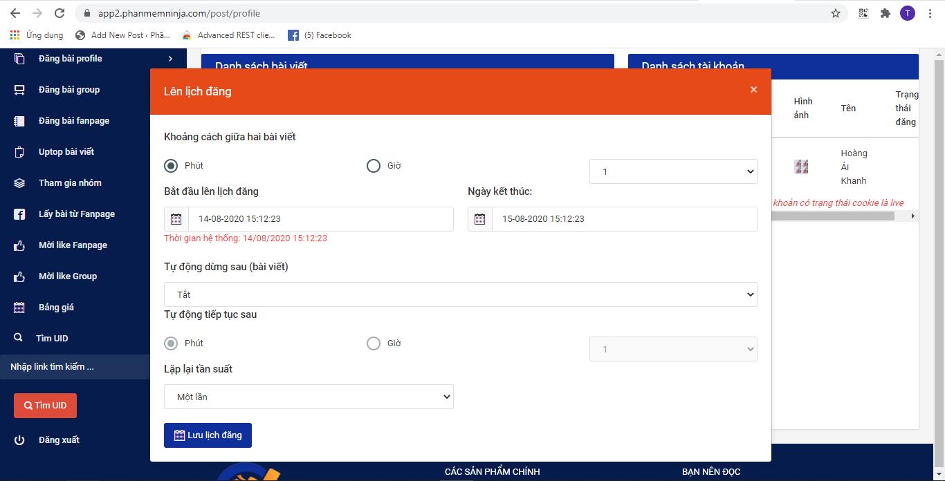 screenshot 1597392779 Ninja Auto Post   Phần mềm đăng bài Facebook tự động nhanh chóng