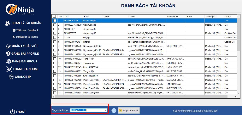 tai khoan duoc dong bo Hướng dẫn nhập tài khoản trên phần mềm đăng bài quảng cáo facebook Ninja Auto Post client