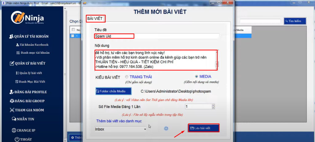 them moi bai viet spam uid facebook 1024x463 Hướng dẫn gửi tin nhắn tự động nhanh chóng trên Facebook và Zalo
