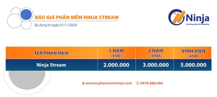 báo giá ninja phát lại livestream e1606269720833 Phần mềm phát lại Livestream tự động, chuyên nghiệp   Ninja Stream
