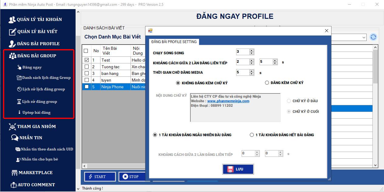 ninja auto post client 25 2 Cập nhật phần mềm đăng bài tự động Ninja Auto Post phiên bản Client 2.5